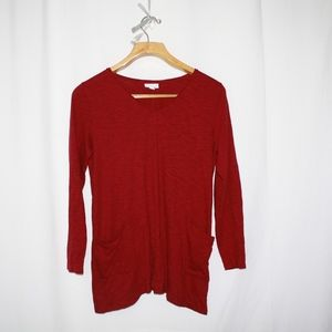 j.jilll burgundy tunic blouse long sleeve sz L